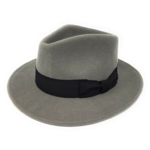 Grey Fedora Hat: Wool, Crushable - Indy